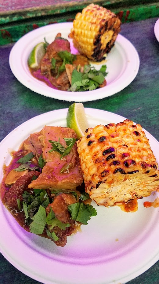 Review of Feast PDX Smoked 2017, Troy MacLarty of Bollywood Theater offered Pork Vindaloo and Juhu Beach Corn