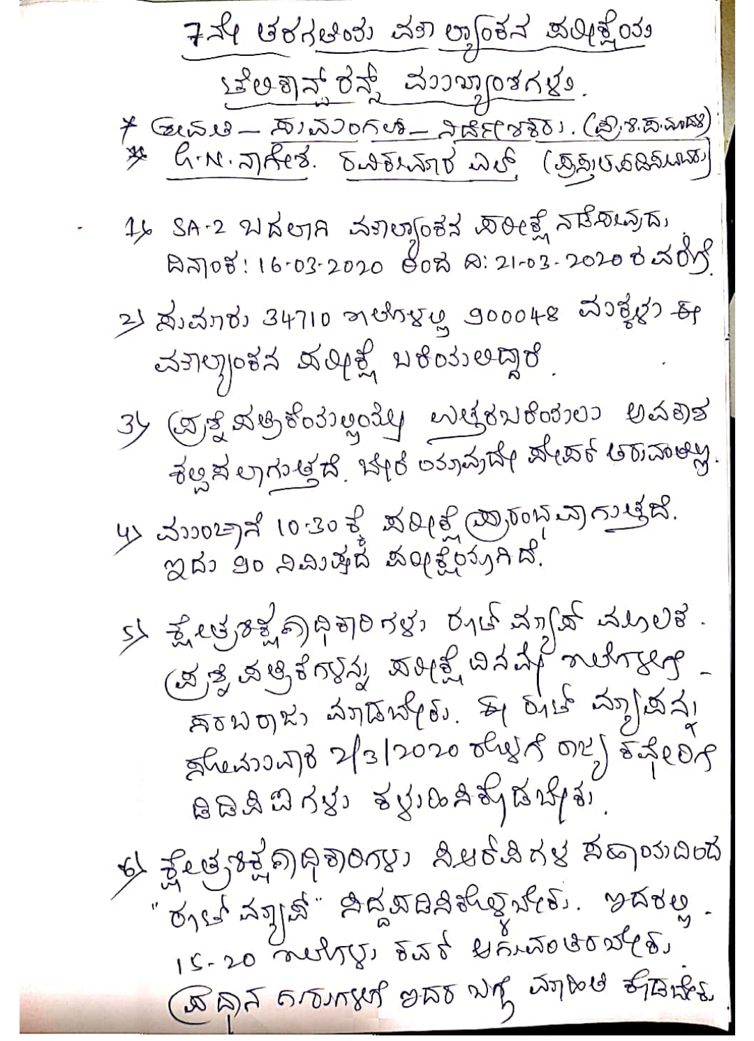 Highlights of Class VII General Valuation Examination held on 28-02-2020