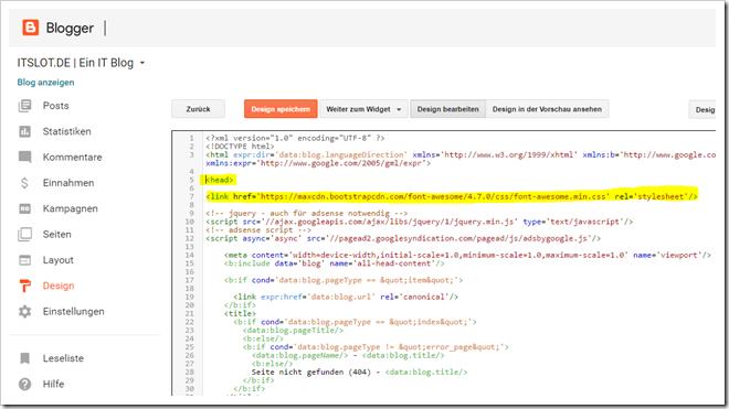 Font Icon in Blogspot einbinden