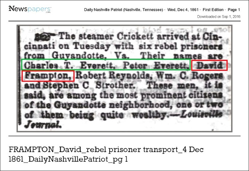 FRAMPTON_David_rebel_prisoner_transport_4_Dec_1861_DailyNashvillePatriot_pg_1