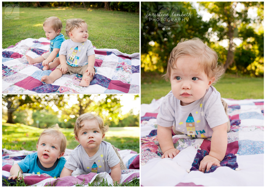 Twin 9 month old boys - outdoor photo session