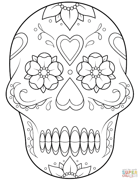 Sugar Skull With Flowers And Hearts Coloring Page Free Printable