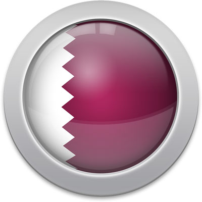 Qatari flag icon with a silver frame