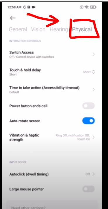 settingan physical accessibility untuk mematikan getaran back button