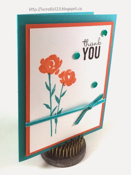 Linda Vich Creates: Shake It Off! A clean and simple card using the Painted Petals stamp set along with a striking color combo of Bermuda Bay, Tangerine Tango and Whisper White. Also learn how to align your layers perfectly every time!