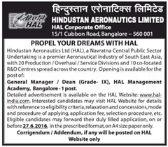 HAL Vacancy 2016 indgovtjobs