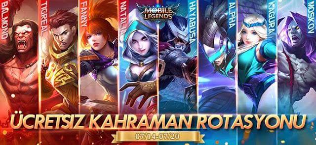 Mobile Legends 14 Temmuz 20 Temmuz Ücretsiz Kahraman Rotasyonu
