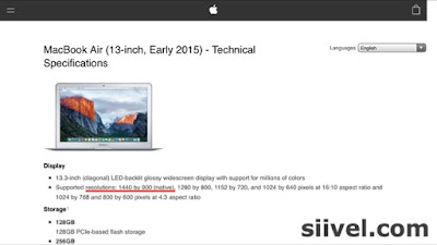 "The resolution of 13"" Macbook Air 2015"