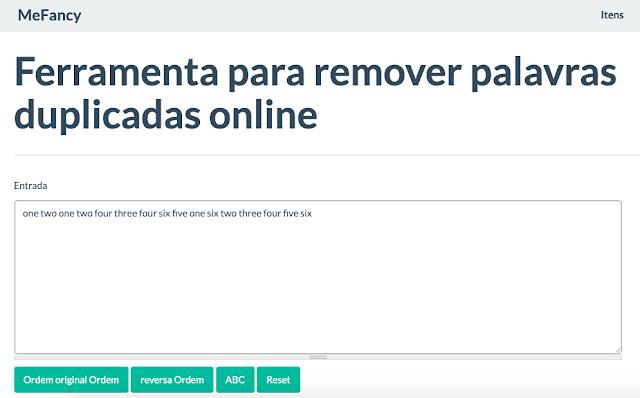 Ferramenta online para remover palavras duplicadas