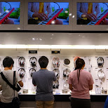 testing some new headphones by Sony in Ginza, Tokyo, Japan