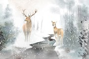 Hand Drawn Pair Deer Watercolor Style Vector Free Download Vector CDR, AI, EPS and PNG Formats