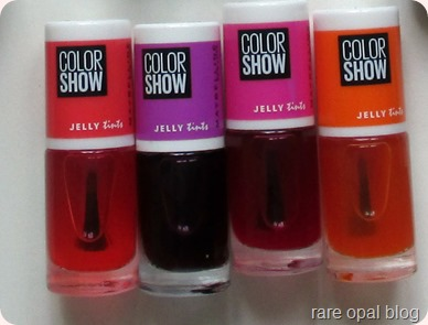 Maybelline Color Show Nail Polish Jelly Tints collection in Berry Merry, Grapefruity, Edgy Tangy and Fuchsianista