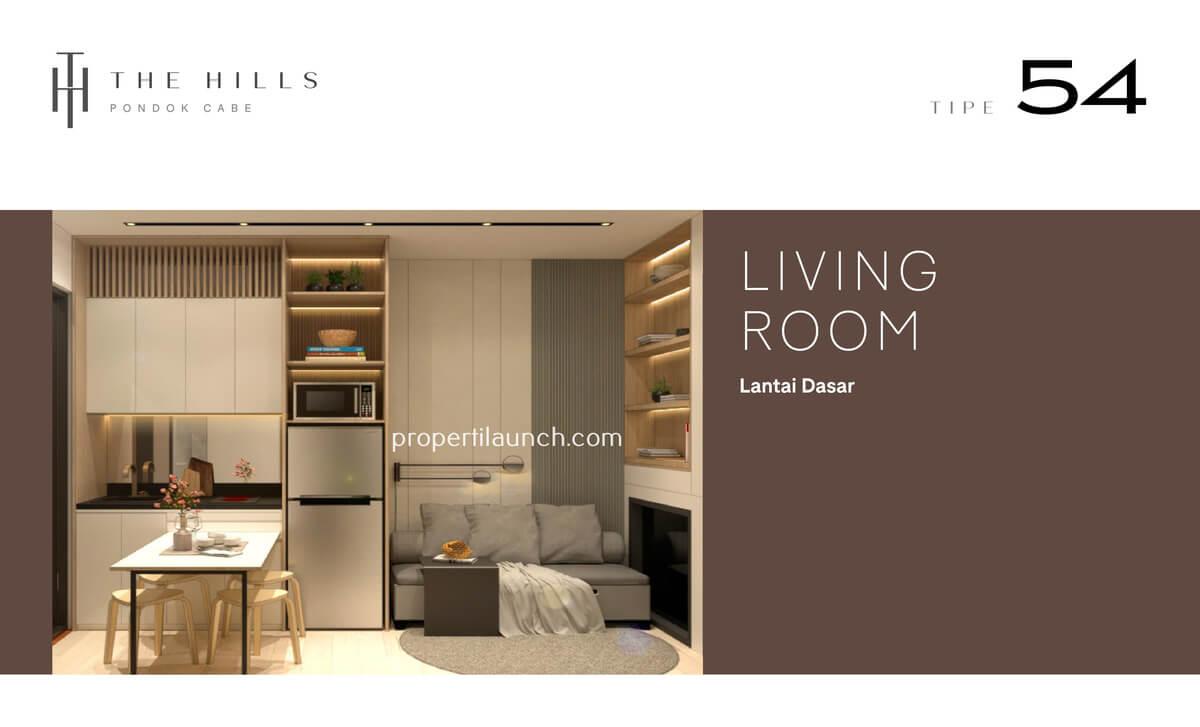 Interior Desain Ruang Keluarga Rumah The Hills Pondok Cabe Tipe 54