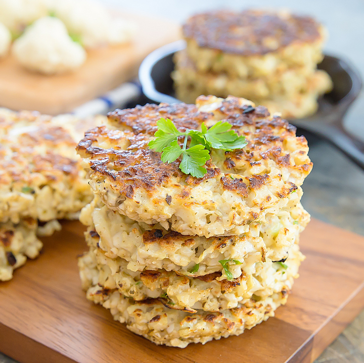 photo of a stack of Cauliflower Fritters