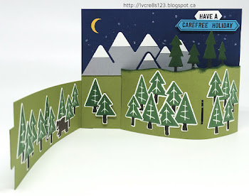 Linda Vich Creates: Always An Adventure Bendy Card. Three dimensional camping scene created by using the Outdoors Adventures Thinlits with a bendy card.