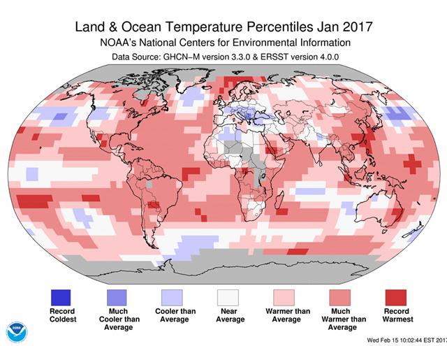 January 2017 Blended Land and Sea Surface Temperature Percentiles. Graphic: NOAA
