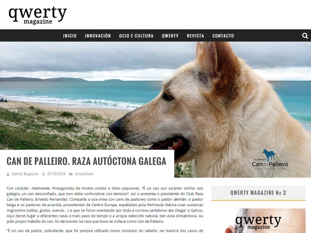 Revista QWERTY MAGAZINE en la que aparece nuestra Can de Palleiro GALA.