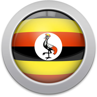 Ugandan flag icon with a silver frame