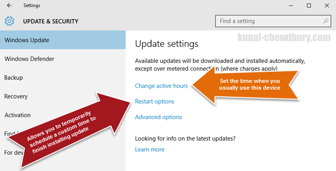 Windows 10 Update Settings (www.kunal-chowdhury.com)