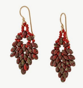 SuperDuo Poinsettia Earrings by Fusionbeads.com
