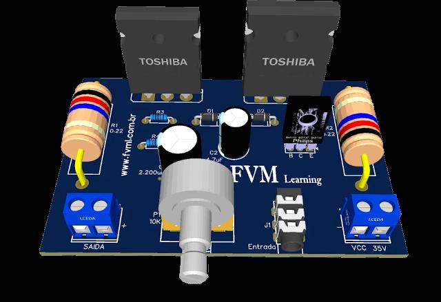 Simple 3 Transistors Power Amplifier push a 600W RMS Subwoofer + PCB