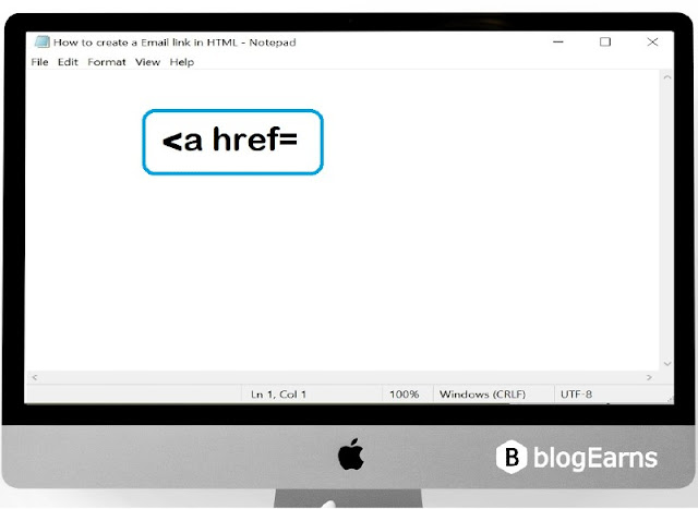how to create an email link in HTML - step1