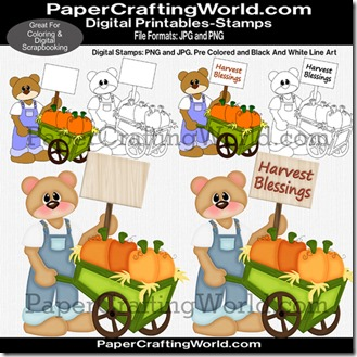 bear w pumpkin cart pprdsb-325