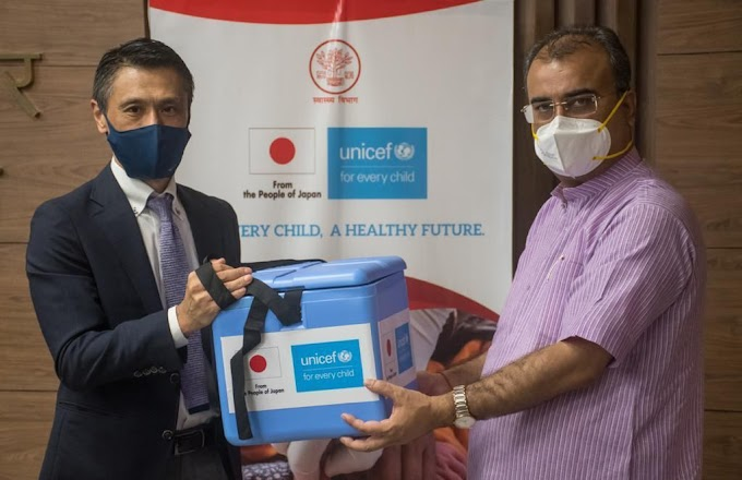 बिहार में आयोजित हस्तांतरण समारोह में भारत के सबसे बड़े टीका अभियान के लिए जापान सरकार की सहायता के प्रति अभिस्वीकृति