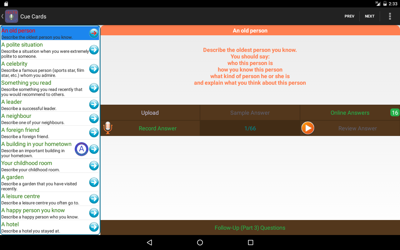 IE Speaking Practice- screenshot