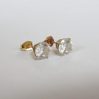 14K Gold and Clear Stone Post Earrings