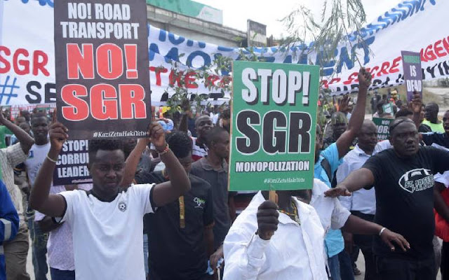 Port based business employees protest over SGR deal. PHOTO | SG