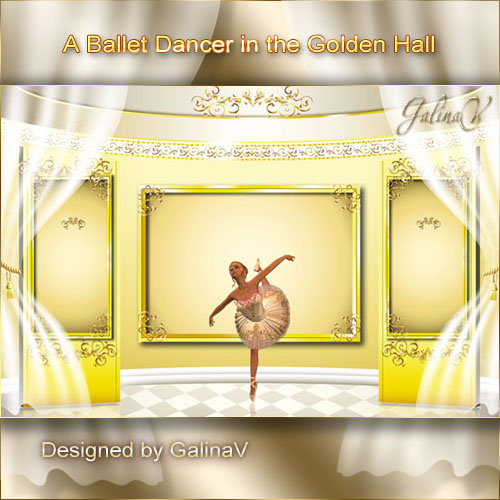 PSD-Source - Ballet Dancer in the Golden Hall
