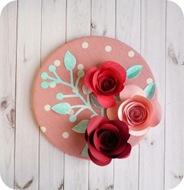 32 - decorazione rose e ramoscello sizzix