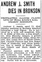 SMITH_Andrew J_obit_24 Oct 1916_KalamazooGaz_pg 3_Michigan
