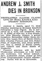 SMITH_Andrew J_obit_24 Oct 1916_KalamazooGaz_pg 3_Michigan