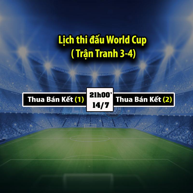 Lịch thi đấu World Cup 2018 - Trận tranh 3-4