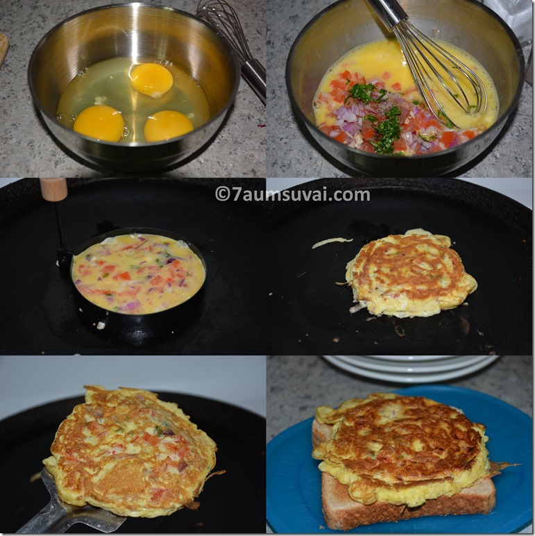 ... golden brown place omelette in between two breads and serve hot