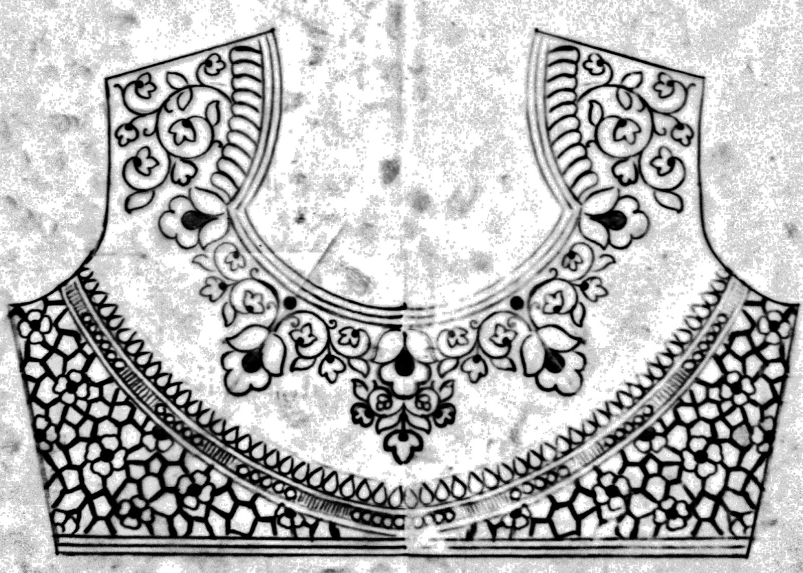 Simple saree blouse designs/free download emroidery pic of blouse design/How to draw blouse embroidery design