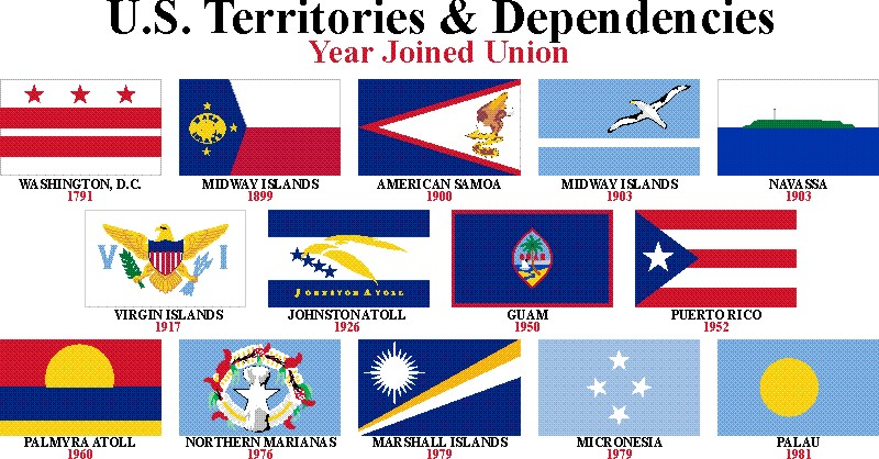 Flags of some US Overseas Territories