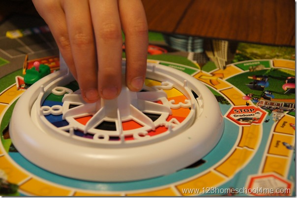 the best part about The Game of Life game is spinning the wheel.