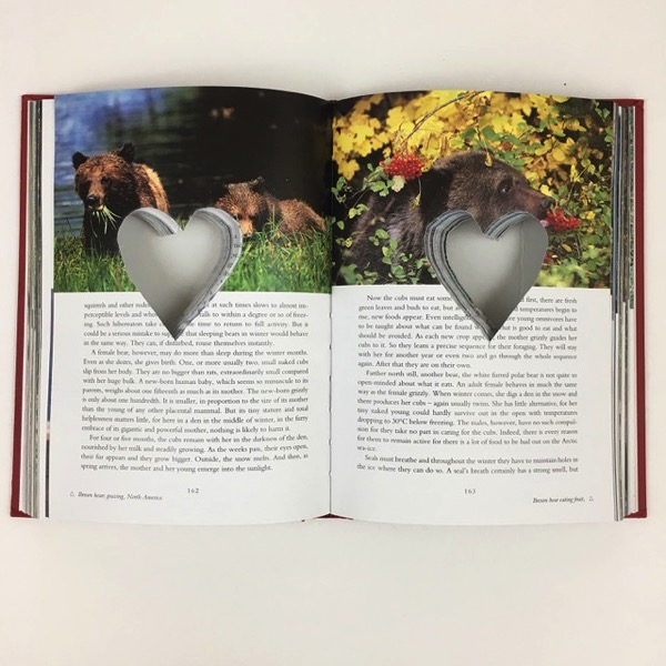 Heart cut out of book pages