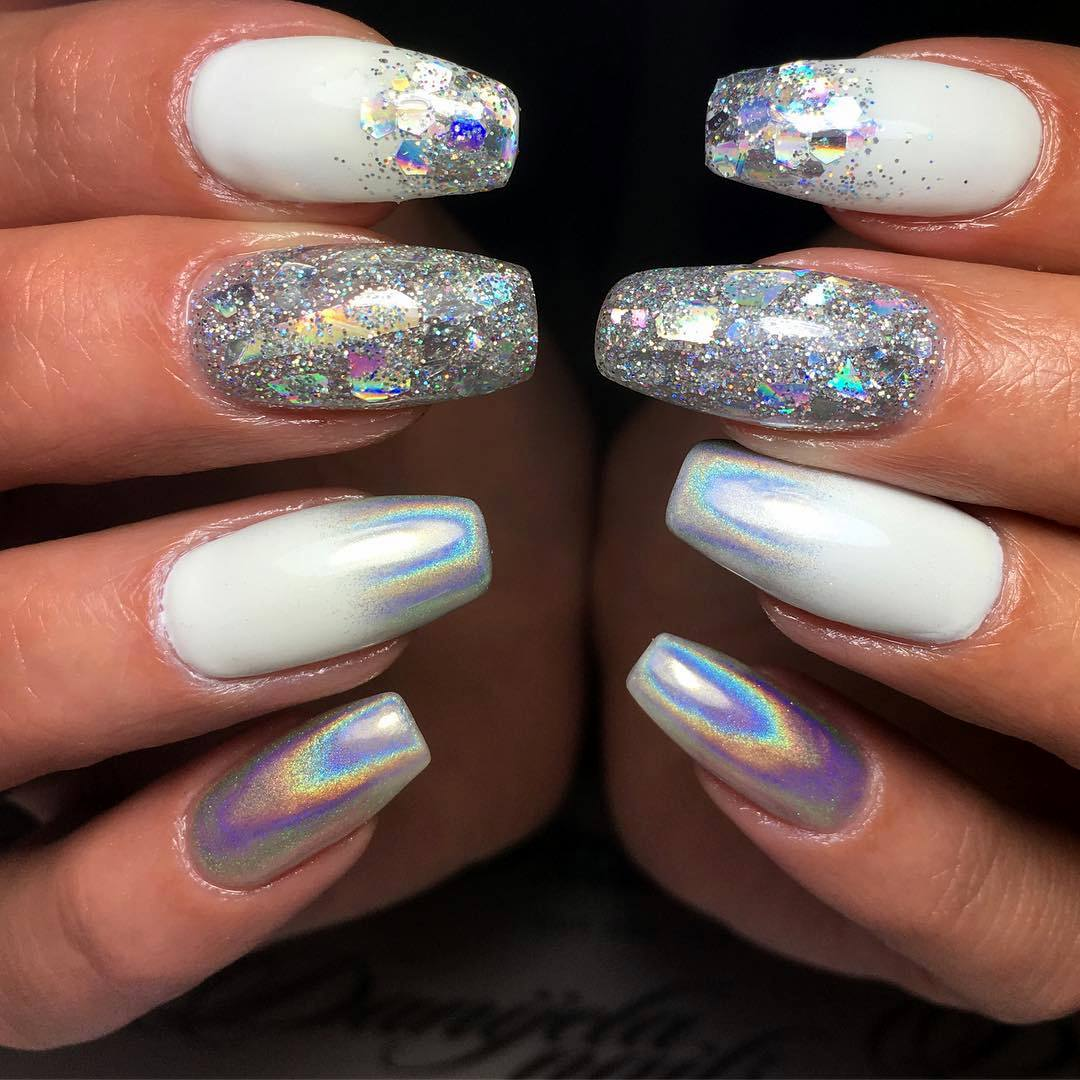 Fancy White Coffin Nails Bright And Fasionable Designs 2018 Styles Art