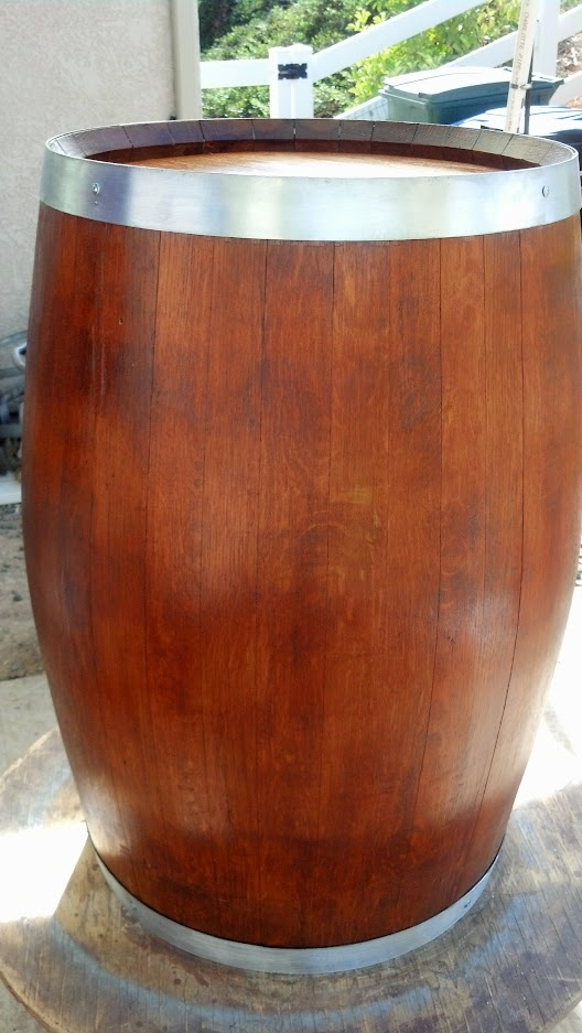 Stained wine barrel