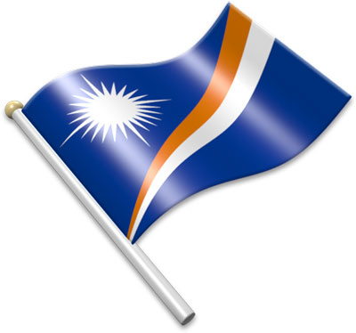 The Marshallese flag on a flagpole clipart image