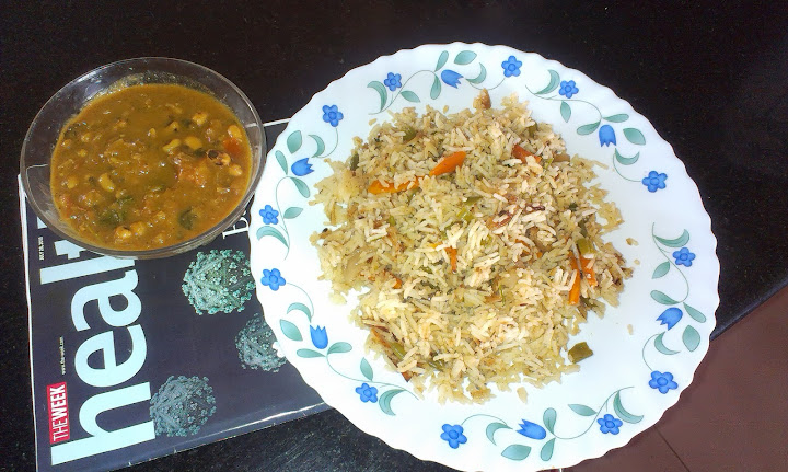 Gina's mixed veg fried rice with lobia curry