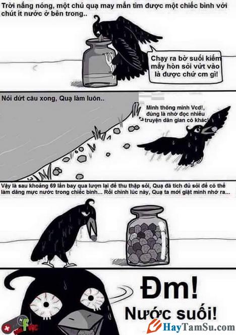 câu chuyện con quạ gắp sỏi uống nước