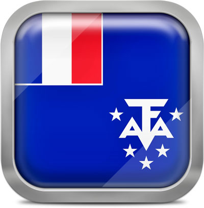 French Southern and Antarctic Lands square flag with metallic frame