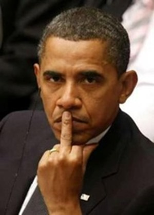 obama gives us the finger