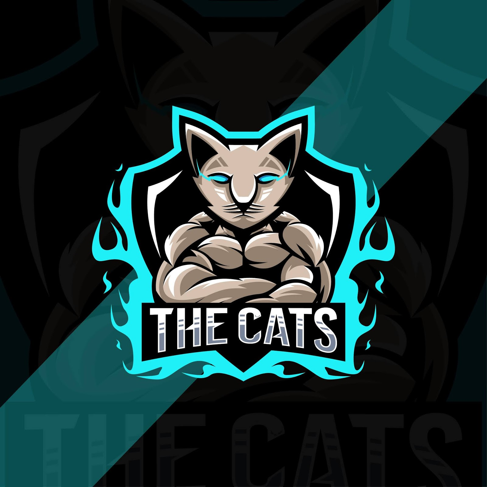 Muscle Cat Mascot Logo Esport Design Free Download Vector CDR, AI, EPS and PNG Formats