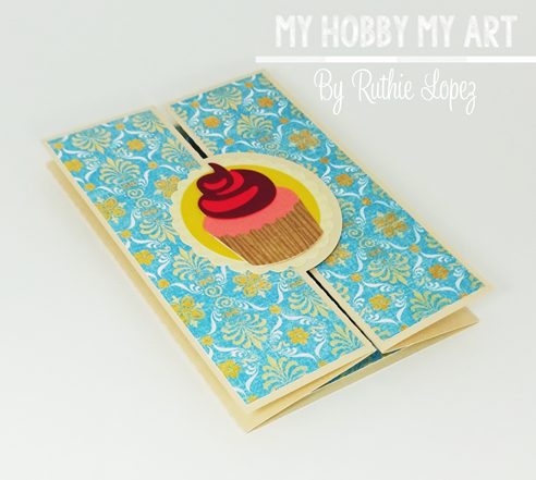 Cupcake Scallop Double Bi Fold card, SnaoDRagon Snippets, Ruthie Lopez, Hilda's Birthday , Blog Hop, Birthday Card 3